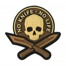 PVC Patch - no knife, no life - coyote color skull
