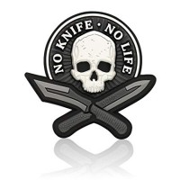 PVC Patch - no knife, no life - white skull